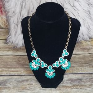 Turquoise blue and rhinestone statement necklace